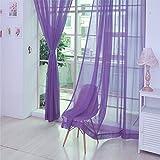 Hukz 1 Stück reine Farbe Tulle Tür Fenster Vorhang Drape Panel Sheer Schal Volants (A)
