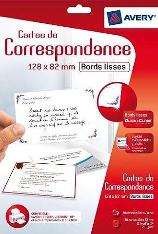 Avery 48 Cartes de Correspondance à Bords Lisses - 128x82mm