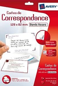 Avery 48 Cartes de Correspondance à Bords Lisses - 128x82mm - Impression Jet d'Encre - Blanc (C2318)