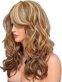 Tsnomore Trois Tones Blonde Auburn Mix long naturel Wavy femmes perruque de cheveux synthétiques