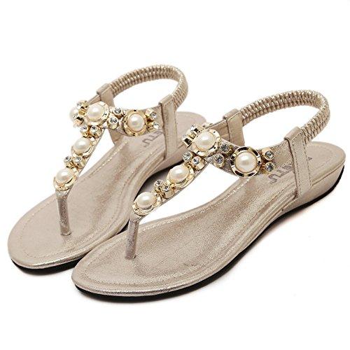 Elegante Mode Perlen Keil Sandalen für Frauen und Damen Gold ...