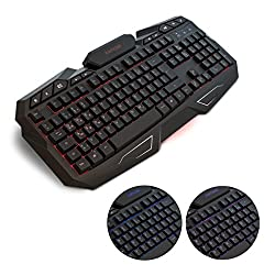 kwmobile Computer Gaming Keyboard beleuchtet - Rubberdome USB PC Tastatur für Gamer - Deutsches QWERTZ Layout 104 Tasten - mit RGB LED Beleuchtung