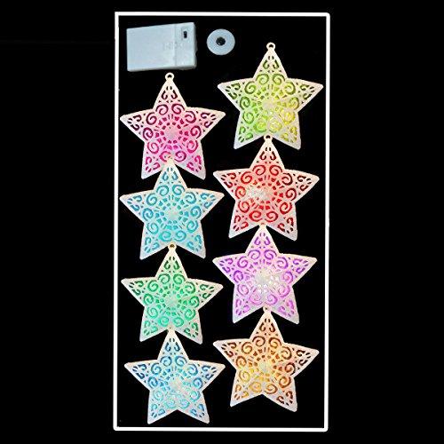 8 x 12cm Farbwechsel LED Weihnachten Glitter Star Lights Batteriebetrieben 3,4m