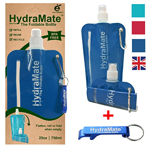 Faltbare, wiederverwendbare Wasserflasche. BPA-frei, 750ml. HydraMate Leichte, umweltfreundliche, nachfüllbare Flasche mit Sportverschluss und hygienischem Deckel. Mit Karabiner und Flaschenöffner!