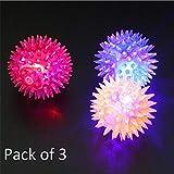 #5: SaleOn™ LED Flashing Light Up High Bouncing Balls Novelty Sensory Hedgehog Ball Children Kids Toy Gifts Light Up Toys/Pack of 3/(Mix Color)-744