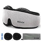 HOMMINI Reise Schlafmaske für Damen und Herren, Premium Schlafbrille 3D mit verstellbarem Band Augenmaske für komplette Dunkelheit und Freies Bewegen der Augen inkl. Ohrstöpsel&Aufbewahrungstasche
