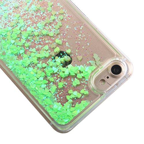 Custodia per iPhone 7 Case,Cover per iPhone 7,TOYYM - Love Heart Star Crystal Case Cover, Resistente Chiaro Trasparente [Bling Liquid] con divertente liquido flottante 3D con lussiosi glitter per iPho Color 21#