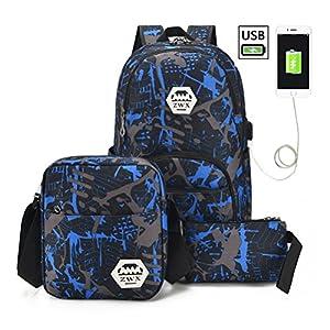 836f710ca7 TTD graffiti zaino, tre set di scuola borsa leggero zaino con porta di  ricarica USB esterna