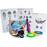 Bucketbolt New 3D Printing Pen For Kids' Arts With Led Display, 3 Drawing Stencils And 3 Pla Filaments-Blue