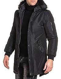 BLZ jeans - Bomber long homme noir capuche fourrure