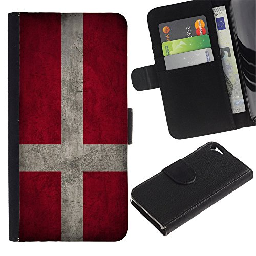 Graphic4You Vintage Uralt Flagge Von Schottland Schottisch Design Brieftasche Leder Hülle Case Schutzhülle für Apple iPhone SE / 5 / 5S Dänemark Dänisch