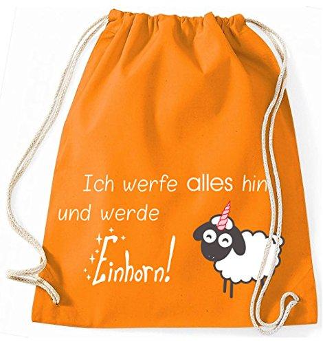 Jutebeutel Turnbeutel Sportbeutel Stofftasche Baumwolltasche Tasche Rucksack Gymsack Sheep Schaf Sheepcorn Ich werfe alles hin und werde Einhorn (Fuchsia) Orange