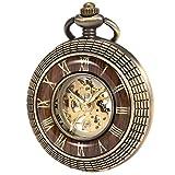 Reloj de bolsillo con cadena - mecánico manchda Mens imitacion madera luminoso Skeleton Dial + caja de regalo
