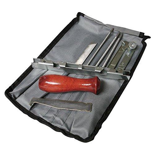 BMS Kettensägen-Schleifset mit Rund- und Flachfeilen, Griff, Messgerät