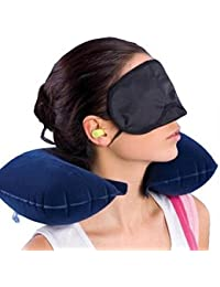 Skyfish Cotton Neck Travel Pillow, Eye Mask and Ear Plug (Multicolour,5654212)