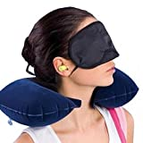 Skyfish cotton neck Travel Pillow, Eye Mask & Ear Plug (multi color)