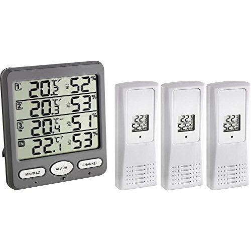 TFA Dostmann Klima-Monitor Funk-Thermo-Hygrometer mit 3 Sendern, Kunststoff, Grau