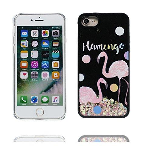 "Hülle iPhone 7 Cover, Case iPhone 7 Handyhülle, Cartoon Flamingo Stars - Bling Glitter Silikon ultra dünn, Shell iPhone 7 Cover 4.7"" # 4"