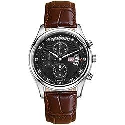 binlun Outdoor vielseitig Spalte Rad Chronograph Schwarz Zifferblatt braun Band Armbanduhr Woche und Datum für Mann