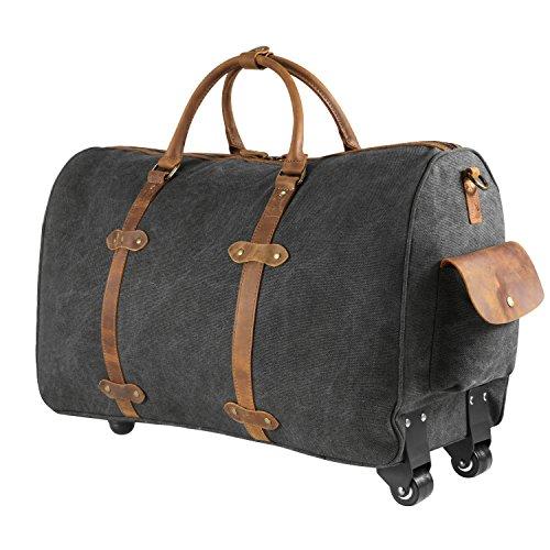 Kattee Trolleytasche mit Rädern Canvas Trolley Reisegepäck Reisetasche 50L (Dunkelgrau) Dunkelgrau