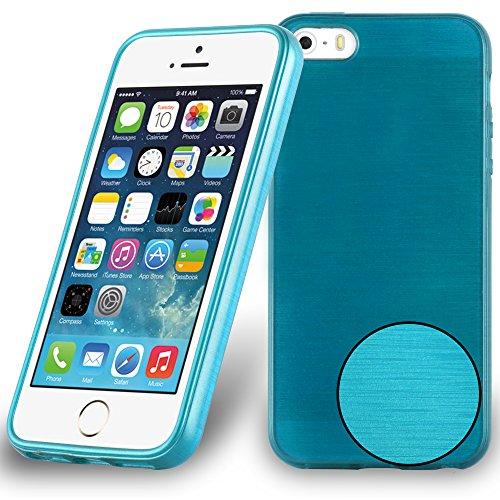 Preisvergleich Produktbild Cadorabo DE-104821 Apple iPhone 5 / iPhone 5S / iPhone SE Handyhülle aus TPU Silikon in gebürsteter Edelstahloptik (Brushed) Türkis