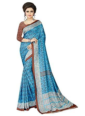 e-VASTRAM Womens Crepe Printed Art Silk Saree(V3117_Blue)