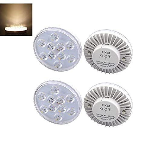 Bonlux 4-Packs 5W GX53 LED Under Cabinet Lighting Warm White 3000K High Brightness 5730 SMD LED GX53 CFL Bulb