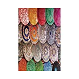 Liumiang Drapeau Eco-Friendly Manual Custom Garden Flag Demonstration Flag Game Flag,Moroccan Decor,Traditional Arabic Handcrafted Colorful Plates Shot at The Market in Marrakesh,ecor d¨¦cor