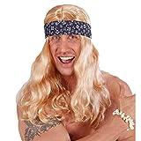 Beachboy Hippie Perücke Blonde Langhaarperücke mit Stirnband Hawaii Faschingsperücke Coole Surfer Herrenperücke Flower Power Partyperücke Peace Kostüm Accessoire