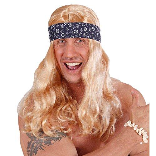 (NET TOYS Beachboy Hippie Perücke Blonde Langhaarperücke mit Stirnband Hawaii Faschingsperücke Coole Surfer Herrenperücke Flower Power Partyperücke Peace Kostüm Accessoire)