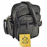 Herrentasche schwarz Echtleder Schultertasche Nappa-Herrentasche mit Fee-Anhänger DrachenLeder OTJ127S