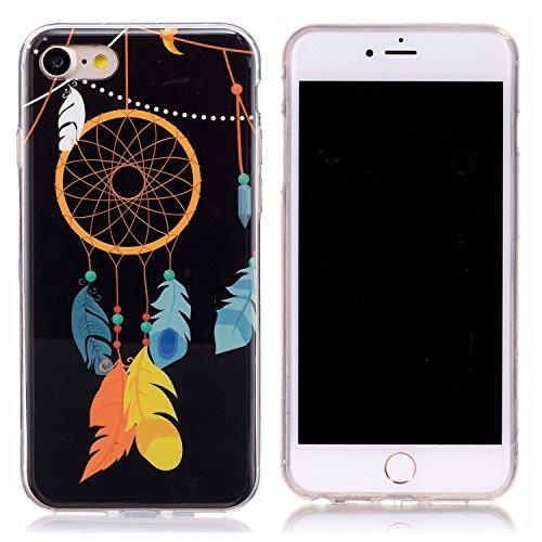 iPhone 7 Hülle, E-Lush TPU Soft Silikon Tasche Transparent Schale Clear Klar Hanytasche für Apple iPhone 7 (4.7 Zoll) Durchsichtig Rückschale Ultra Slim Thin Dünne Schutzhülle Weiche Flexibel Handyhül Attrapeur de Rêves