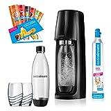 SodaStream Easy PROMOPACK Wassersprudler zum Sprudeln von Leitungswasser, ohne schleppen!  mit 1 Zylinder, 2* 1L PET Flasche (BPA FREI!), 2 Design Trinkgläsern sowie 6 Sirupproben; Farbe: schwarz -