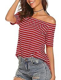 Mujer es Amazon Rayas Camisetas Ropa M ZUxqvw7