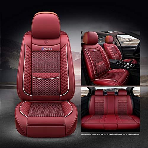 kangsheng Coprisedili Auto Universali, per 5 Posti 3D Full Surround Design Cuscino Sportivo in Pelle Resistente all'Usura per Citroen C3-XR C4 C4l C5 C6 (Wine Red,Deluxe Edition)