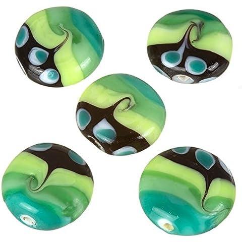 Verde Seawave Patterned piatto disco rotondo perline di vetro 20mm pk5 - Tono Multicolore In Vetro
