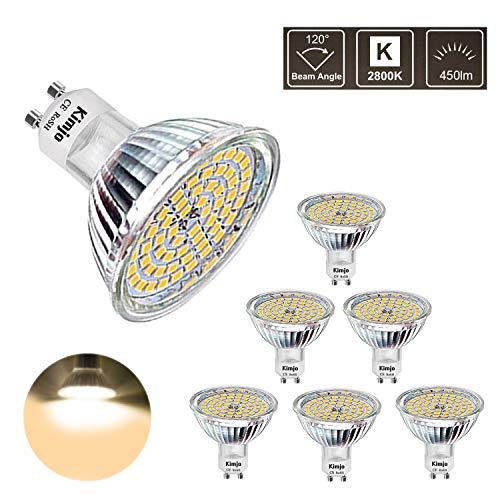 GU10 LED Lampe Kimjo Warmweiß 2800K 5W Ersatz für 50W Halogenlampen Leuchtmittel 450LM 120 °Abstrahlwinkel 82Ra 6 Packungen -