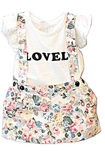 PICCOLI MONELLI Sommer-Outfit Mädchen Latzhose mit Kleid 4-5 Jahre geblümt 110 cm