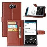 Guran® Ledertasche Tasche für Blackberry Priv Smartphone Flip Cover Standing Funktion und Kartensteckplatz Case