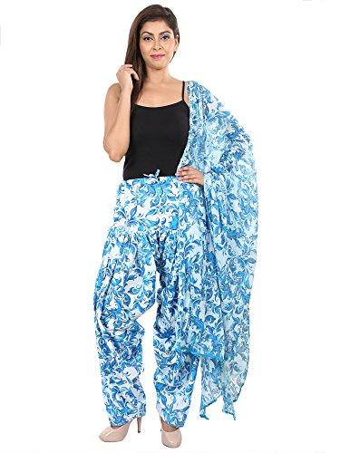 Fashion Store Printed Solid Cotton Blue Patiala Salwar Dupatta Set(Free Size,Multi Color)