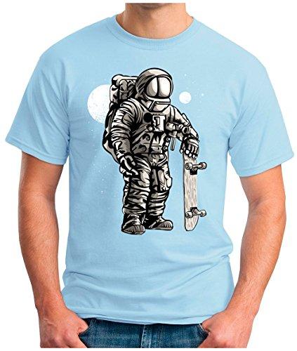 OM3 - ASTRONAUT-SKATER - T-Shirt SKATEBOARD LONGBOARD MOON STARS SPACE WELTRAUM KOSMOS SciFi PARODY FUN GEEK, S - 5XL Himmelblau