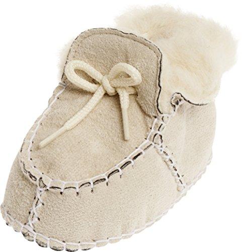 Playshoes Babyschuhe In Lammfell-optik Zum Binden, Chaussons pour enfant mixte bébé Beige - Beige (Natur 2)