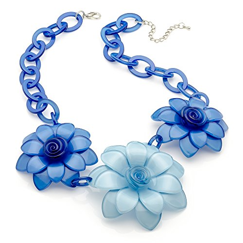 The FabLook Acc Gorgeous blau Ton Drei Blume Acryl Fashion Halskette | Dunkelviolett | sparen 50%