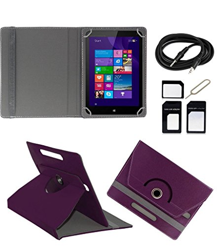 ECellStreet ROTATING 360° PU LEATHER FLIP CASE COVER FOR Micromax Canvas Tab P480 7 INCH TABLET STAND COVER HOLDER - Purple + Free AUX Cable + Free Sim Adapter Kit