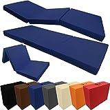 Materasso pieghevole per ospiti Compact di proheim 195 x 60 x 7 cm - Letto per ospiti da viaggio, Colore:Blu scuro