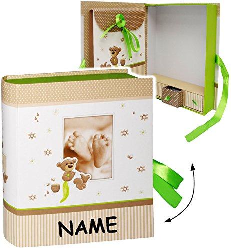 alles-meine.de GmbH XL Sammelbox / Ordner - Geschenkbox / Fotobox -  süßer Teddy Bär & Babyfüße  __ incl. Name - mit 4 Fächern & Schubladen / Geschenkkästchen / Erinnerungsbox ..