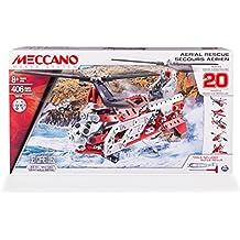 Meccano Helicopter 20 Model Set - juegos de construcción (Vehicle erector set, 8 año(s), 406 pieza(s), Negro, Rojo, Plata, Color blanco, Metal, De plástico, China)