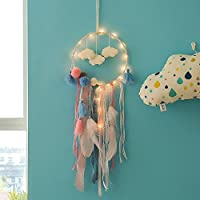 FORYOURS Boho Dream Catcher Adorno Colgante, LED Dream Catcher, Plumas Múltiples Big Dream Catcher Para Dormitorio, Salón, Decoración Interior, Decoración De Bodas