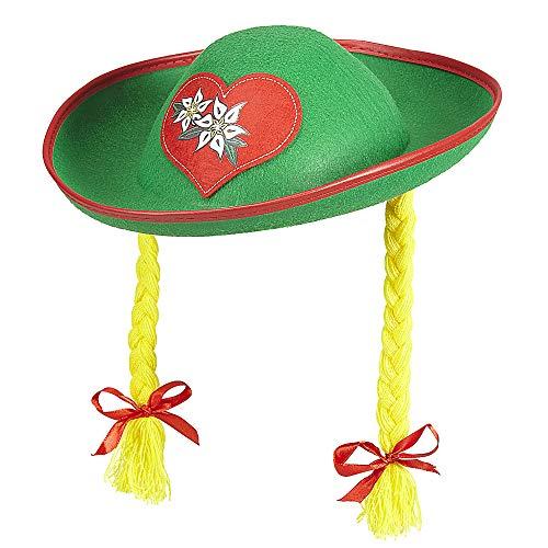Widmann 01318 Tiroler Hut mit Zöpfen, für Erwachsene, grün (Grüner Hut Für Erwachsene)