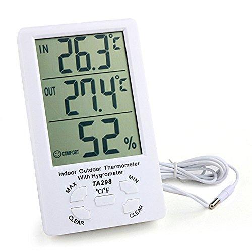 TA298 11,18 cm LCD Innen- und Außenthermometer mit Hygrometer weiß